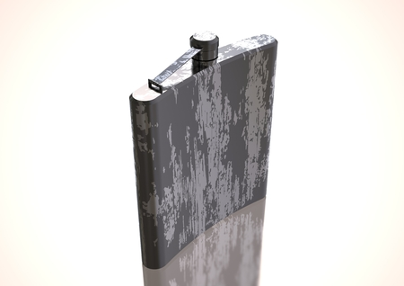 Silver and black flask for alcohol on a white background. 3D rendering