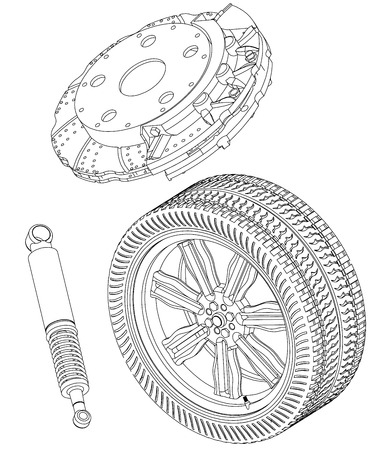 Brake disc, wheel and shock absorber on a white background. Drawing