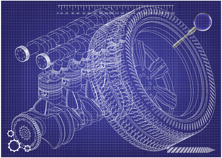 Car engine and wheel on a blue background. Drawing