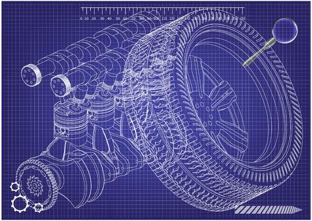 Motore dell'auto e ruota su sfondo blu. Disegno