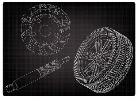 Disque de frein, roue et amortisseur sur fond noir. Dessin Vecteurs