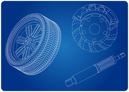 Brake disc, wheel and shock absorber on a blue background. Drawing