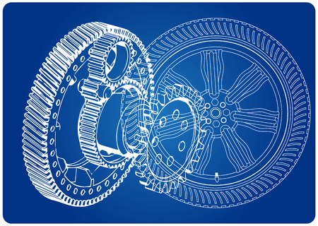 Wheel and gear mechanism on a blue background. Drawing