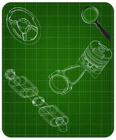 Steering wheel, piston and exhaust pipe on a green background Stock Illustratie