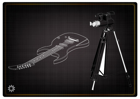 3d model of camera and guitar on a black background. Drawing