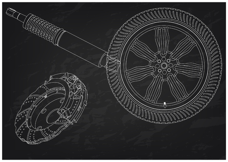 Brake disc, wheel and shock absorber on a black background. Drawing