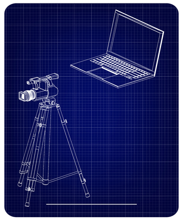 3d model of laptop and camcorder with a tripod on a blue background