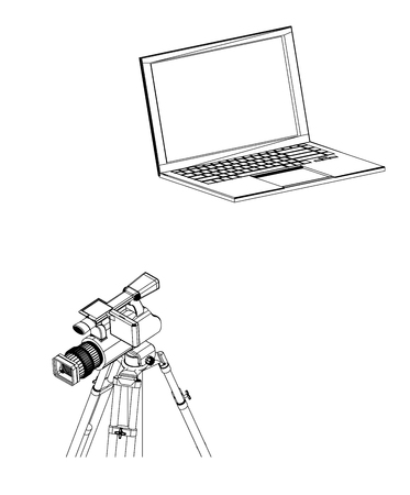 3d model of laptop and camcorder with a tripod on a white background