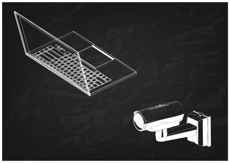 3d model of surveillance camera and laptop on a black background. Drawing
