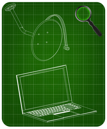 3d model of satellite dish and laptop on a green background. Drawing