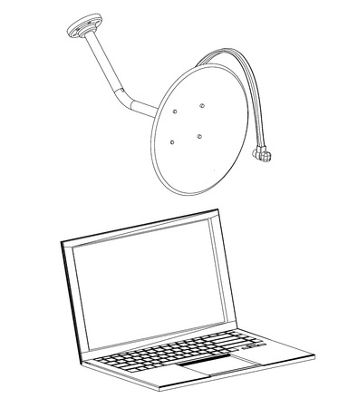 3d model of satellite dish and laptop on a white background. Drawing Illustration