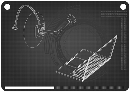 3d model of satellite dish and laptop on a black background. Drawing