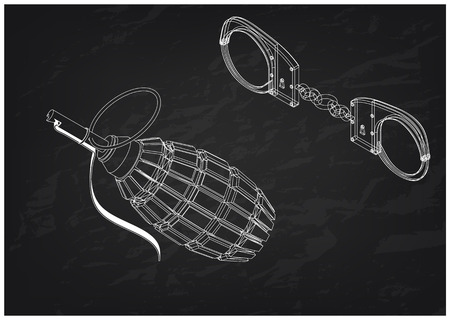 3d model of grenades and handcuffs on a black background. Drawing Vector Illustration