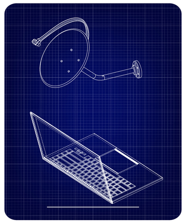 3d model of satellite dish and laptop on a blue background. Drawing Illustration