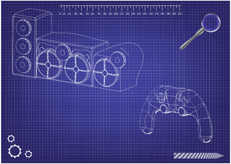3d model of speaker system and joystick on a blue background