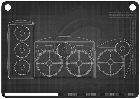 3d model of speaker system on a black background