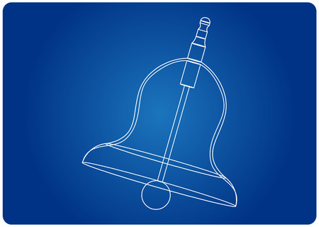 3d model of a bell on a blue background. Drawing