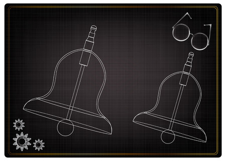 3d model of a bell on a black background. Drawing