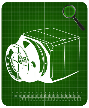 3d model of the safe on a green background. Drawing