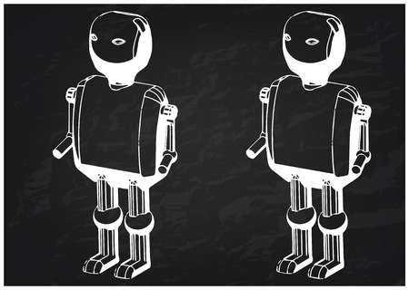 3d model of the robot on a black background. Drawing Vettoriali