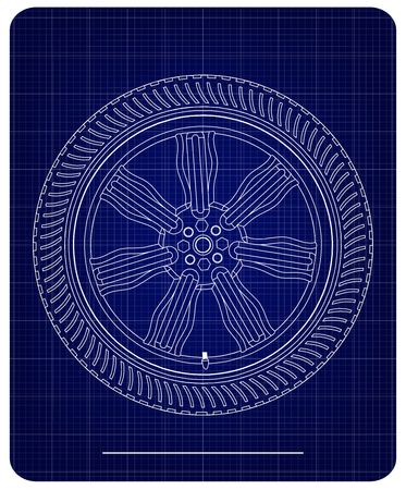 3d model of wheels on a blue background. Drawing