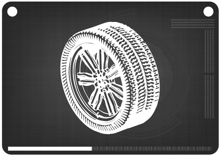 3d model of wheels on a black background. Drawing