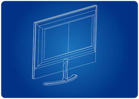 3d model of the monitor on a blue background. Drawing