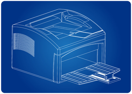 3d model of printer on a blue background