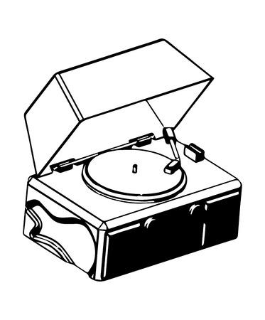 Tourne-disque sur fond blanc. modèle 3D