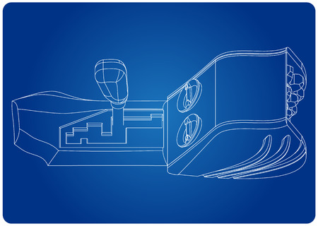 3d model of gearbox on a blue background. Drawing