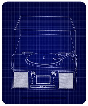 Tourne-disque sur fond bleu. modèle 3D