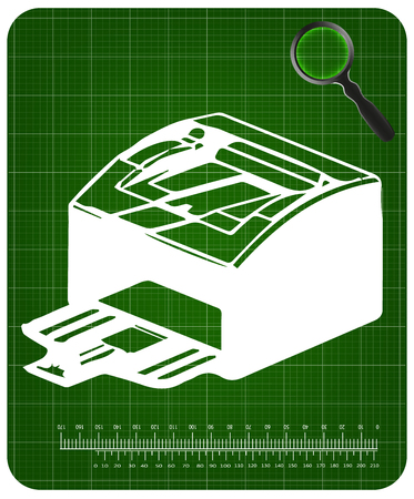 3d model of printer on a green background Stock Illustratie