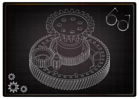 3d model of gears on a black background Vectores