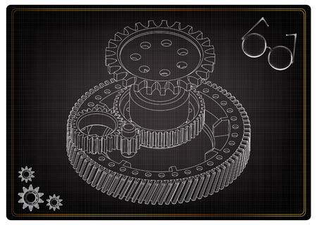 Modèle 3D d'engrenages sur fond noir