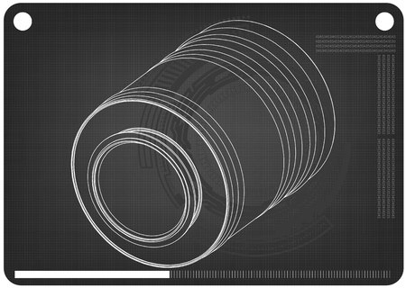 3d model of barrel on a black background. Drawing Stock Illustratie