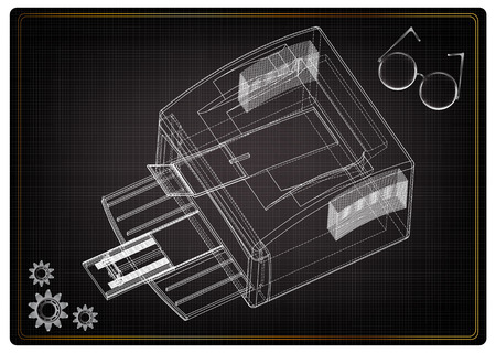 3d model of printer on a black background