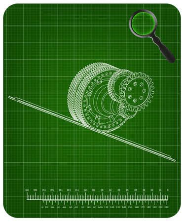 3d model of gears on a green background