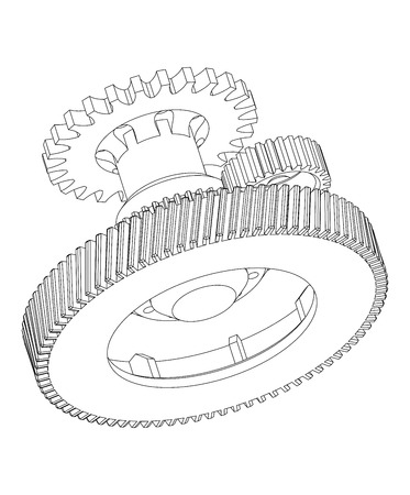 3d model of gears on a white background