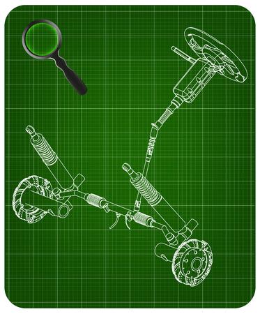 3d model of steering column and car suspension on green background Illustration