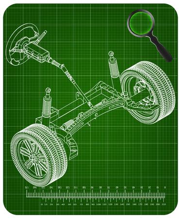 3d model of steering column and car suspension on green background Vektoros illusztráció