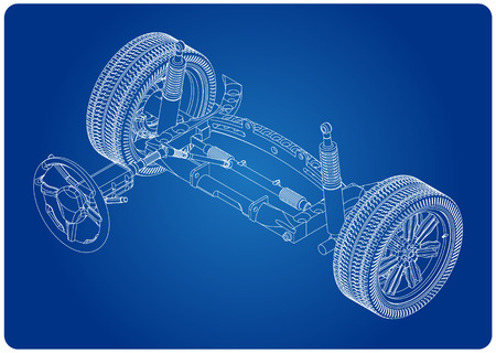 3d model of steering column and car suspension on blue background Stock Illustratie