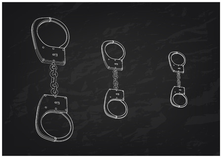 3d model of handcuffs on a black background. Drawing