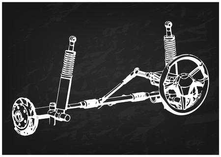 3d model of steering column and car suspension on black background Vektoros illusztráció