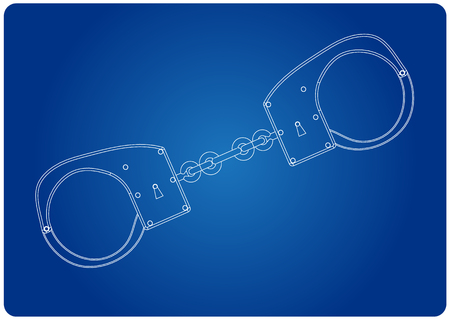 3d model of handcuffs on a blue background. Drawing Illustration