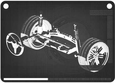 3d model of steering column and car suspension on black background