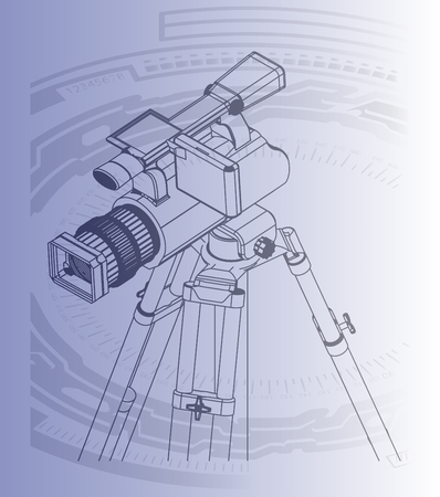 Black camera with tripod on a blue background. Vector image