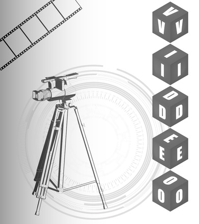 The camera on a white background and film. Vector image