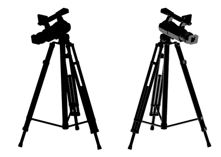 Two black cameras with a tripod on a white background