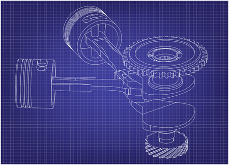 Crankshaft and two pistons on a blue background. Drawing