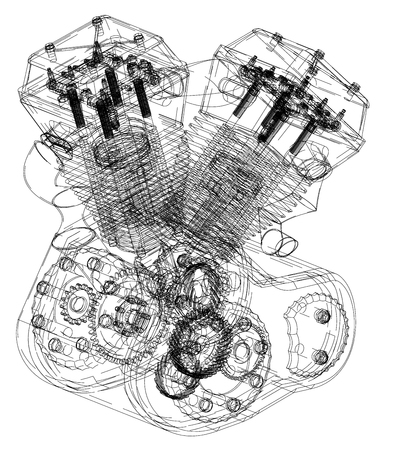 Motorcycle engine on a white background. Drawing Illustration
